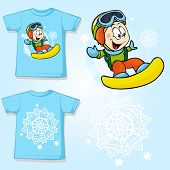 Kid Shirt With Snowboarder Printed - Back And Front View