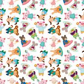 Cartoon Animal Tea Time Seamless Pattern