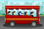 stock photo of bus driver  - A vector illustration of different people riding a bus - JPG