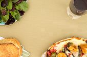 Chicken Casserole, Salad, Sesame Bread And Wine