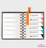 Modern Design template of spiral notebook with ribbons, infographics background. Vector illustration.