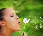 a woman blowing on a dandelion