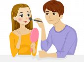 Illustration Featuring a Boyfriend Applying Make Up on His Girlfriend's Face