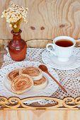 Bolo De Rolo (swiss Roll, Rollcake) Dessert Cup Of Tea On Tray