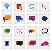 Chat Flat Icon In Different Colors, Shapes, Sizes - Vector Icons
