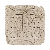 Armenian medieval cross stone on the peninsula Sevan isolated on white