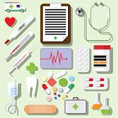 image of scalpel  - Vector set of medical icons isolated on light background - JPG