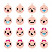 Baby boy and girl cute Kawaii icons set