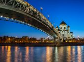 Cathedral Of Christ The Saviour And Patriarshy Bridge In The Evening, Moscow, Russia