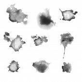 Set Of Various Gray Blots