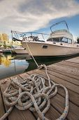 Boat on the waterfront marina in downtown Toronto