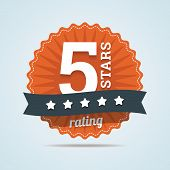 Five Stars Rating Sign In Flat Style. Vector Illustration In Eps10