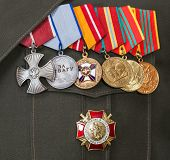 Samara, Russia - June 3, 2014: Different Awards And Medals On The Russian Army Uniform