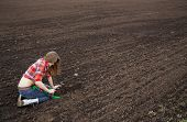 Woman Rake On Cultivated Field Black Soil