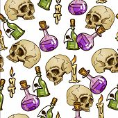Doodle seamless pattern with flasks and skulls