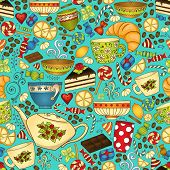 foto of teapot  - Tea and coffee seamless pattern - JPG