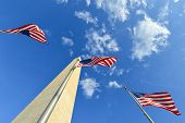 US flags encircling - Washington Monument - Washington D.C. United States