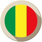 Mali Flag Button Icon Modern