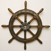 picture of ship steering wheel  - Helm marine craft which manages the master - JPG
