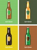 vector illustration of four beer bottles with blank labels