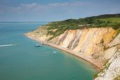 Alum Bay Isle of Wight beautiful beach next to the Needles tourist attraction