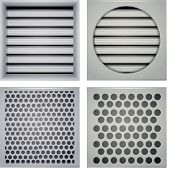 stock photo of aeration  - Set of gray ventilation shutters different type - JPG