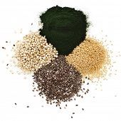 superfoods heap pile collection close up surface top view isolated