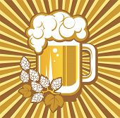 foto of drawing beer  - Beer mug and hops on a striped background - JPG