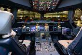 Modern jet aircraft cockpit interior