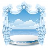 foto of lace-curtain  - Abstract background with theater stand and lace curtain - JPG