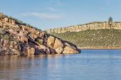 stock photo of sagebrush  - mountain lake with sandstone cliffs  - JPG
