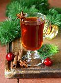 Christmas tea with cinnamon and star anise