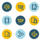 Audio video edit web icons, blue and yellow circle buttons