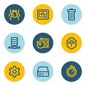 Internet security web icons , blue and yellow circle buttons