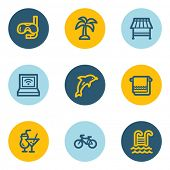 Vacation web icons, blue and yellow circle buttons