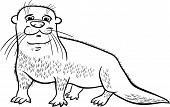 Otter Animal Cartoon Coloring Page
