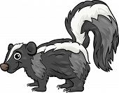 stock photo of skunks  - Cartoon Vector Illustration of Cute Skunk Animal - JPG
