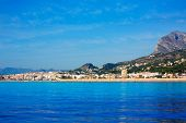 Javea Xabia skyline view from Mediterranean sea  Alicante Spain