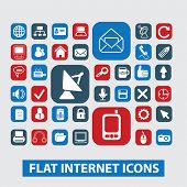 flat internet, website, media, technology icons set, vector