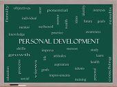 Personal Development Word Cloud Concept On A Blackboard