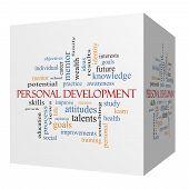 Personal Development 3D Cube Word Cloud Concept