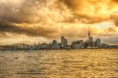 Skyline photo of the biggest city in the New Zealand, Auckland. The photo was taken during the golde