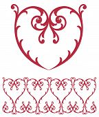 stock photo of scrollwork  - A red lace heart and intricate scrollwork romantic border for Valentines Day or wedding announcement - JPG