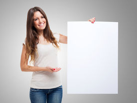 pic of sign-boards  - Woman showing a blank white board - JPG