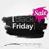 foto of friday  - vector watercolor of label on the big Black Friday discounts and sales - JPG