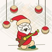 Cute cartoon of a Santa playing guitar and singing jingle on Xmas balls decorated stylish background for Merry Christmas celebration.