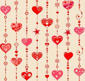 Wallpaper with funny hanging hearts