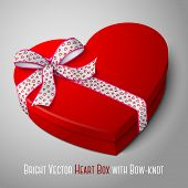 Vector realistic blank bright red heart shape box with pink and white ribbon. For your valentines da