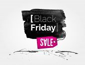 image of friday  - vector Black Friday watercolor banner with splashes of ink and shoppping tag - JPG