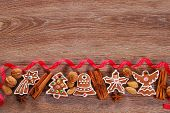 Christmas Wooden Background With Gingerbread Cookies
